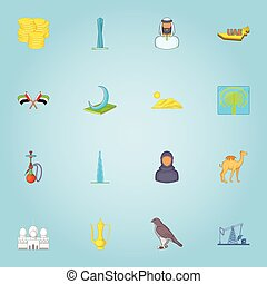 United Arab Emirates icons set, cartoon style