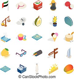 United Arab Emirates icons set, isometric style