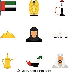 United Arab Emirates icons set, flat style