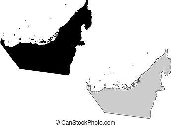 United Arab Emirates map. Black and white. Mercator projection.