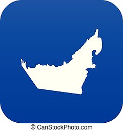 United Arab Emirates map icon digital blue