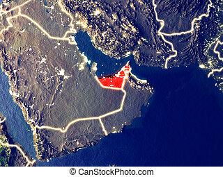 United Arab Emirates on Earth at night