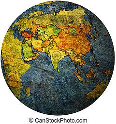 united arab emirates on globe map