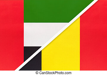 United Arab Emirates or UAE and Belgium, symbol of two national flags from textile. Relationship, partnership and championship between European and Asian countries.
