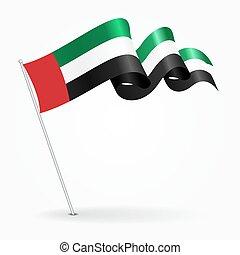 United Arab Emirates pin wavy flag. Vector illustration.