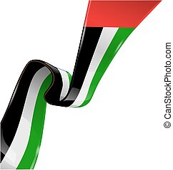 united arab emirates ribbon flag on white background