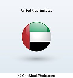 United Arab Emirates round flag. Vector illustration.
