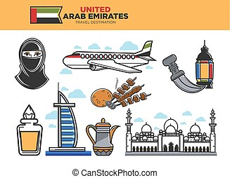 United Arab Emirates travel destination poster with country...