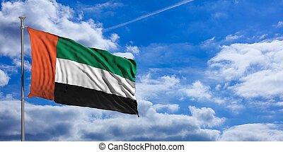 United Arab Emirates waving flag on blue sky. 3d illustration