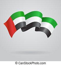 United Arab Emirates waving Flag. Vector illustration