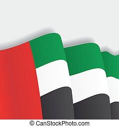 United Arab Emirates waving Flag. Vector illustration.