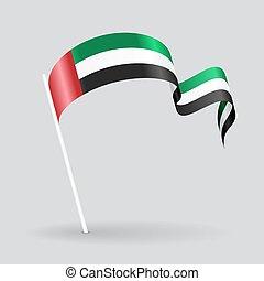 United Arab Emirates wavy flag. Vector illustration.
