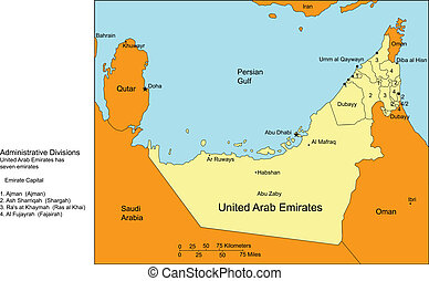 United Arab Emirates with Cities and Surrounding Countries -...