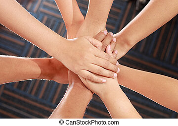 united hands - Group of hands, family love, support, help,...
