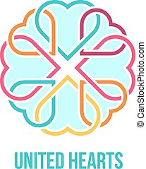 United hearts concept - Many united hearts - friendship, ...