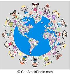 united kids around flower planet