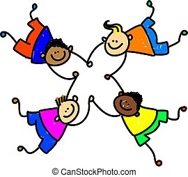 united kids - group of four happy mixed race boys holding...