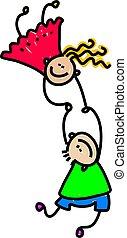 united kids - happy caucasian children holding hands -...