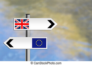 United Kindgom, EU, Europe roadsign - Referendum or ...