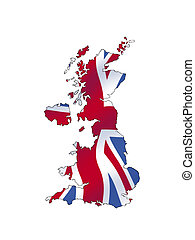 United Kingdom - a map of the UK filled with its waving flag