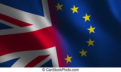 United Kingdom and European Union flag waving 3d. Loop animation.