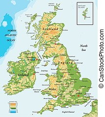 Highly detailed physical map of United Kingdom and Ireland, in vector format, with all the relief forms, states and big cities.