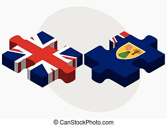 United Kingdom and Turks and Caicos Islands Flags in puzzle...