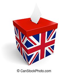 United Kingdom ballot box for collecting election votes in the UK or Britain.