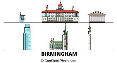 United Kingdom, Birmingham flat landmarks vector illustration. United Kingdom, Birmingham line city with famous travel sights, design skyline.