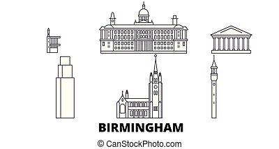 United Kingdom, Birmingham line travel skyline set. United Kingdom, Birmingham outline city vector panorama, illustration, travel sights, landmarks, streets.