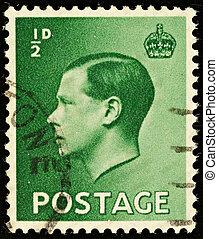 UNITED KINGDOM - CIRCA 1936: An English Half Pence Green Used Postage Stamp showing Portrait of King Edward VIII, circa 1936