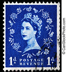 UNITED KINGDOM - CIRCA 1970: An English Used First Class Postage Stamp showing Portrait of Queen Elizabeth II in blue, circa 1970
