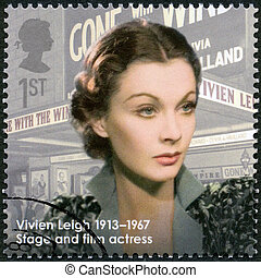 UNITED KINGDOM - CIRCA 2013: A stamp printed in United Kingdom shows actress Vivien Leigh (1913-1967), actress, series Great Britons, circa 2013