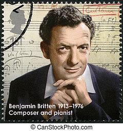 UNITED KINGDOM - CIRCA 2013: A stamp printed in United Kingdom shows Benjamin Britten (1913-1976), composer, series Great Britons, circa 2013
