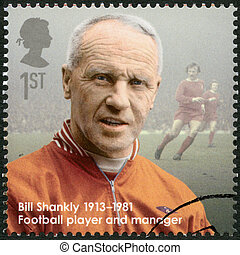 UNITED KINGDOM - CIRCA 2013: A stamp printed in United Kingdom shows Bill Shankly (1913-1981), football player and manager, series Great Britons, circa 2013