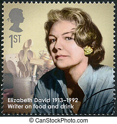 UNITED KINGDOM - CIRCA 2013: A stamp printed in United Kingdom shows Elizabeth David (1913-1992), cookery writer, series Great Britons, circa 2013