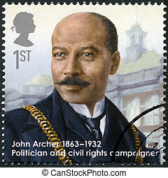 UNITED KINGDOM - CIRCA 2013: A stamp printed in United Kingdom shows John Archer (1863-1932), politician and civil rights campaigner, series Great Britons, circa 2013