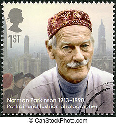 UNITED KINGDOM - CIRCA 2013: A stamp printed in United Kingdom shows Norman Parkinson (1913-1990), photographer, series Great Britons, circa 2013