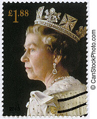 UNITED KINGDOM - CIRCA 2013: A stamp printed in United Kingdom shows Portrait of Queen Elizabeth II, the 60th anniversary of the Coronation of Her Majesty, circa 2013