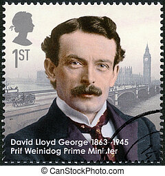 UNITED KINGDOM - CIRCA 2013: A stamp printed in United Kingdom shows prime minister David Lloyd George (1863-1945), series Great Britons, circa 2013