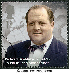 UNITED KINGDOM - CIRCA 2013: A stamp printed in United Kingdom shows Richard Dimbleby (1913-1965), journalist and broadcaster, series Great Britons, circa 2013
