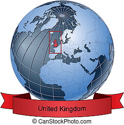 United Kingdom, position on the globe Vector version with...