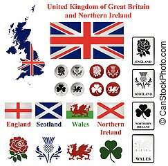 United Kingdom collection of map flags and national emblems...