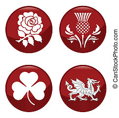 United Kingdom emblems - United Kingdom emblem red button...