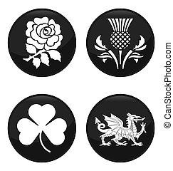 United Kingdom emblem black button set isolated on white background