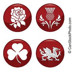 United Kingdom emblems - United Kingdom emblem red button ...