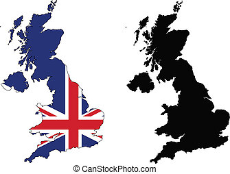 united kingdom - vector map and flag of united kingdom with...