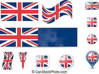 United Kingdom flag and buttons