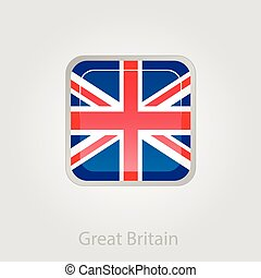 United Kingdom flag button, vector illustration