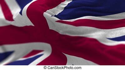 United Kingdom Flag - Close up United Kingdom flag blowing...